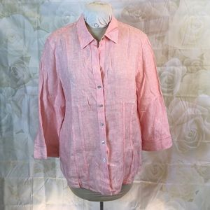 Foxcroft red/white pinstripe fitted shirt